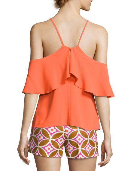 Olan 2 Cold-Shoulder Ruffle Top, Caliente