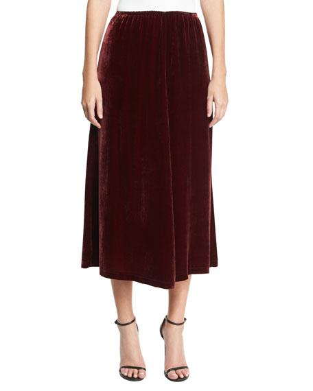McQ Alexander McQueen Velvet Fluid A-Line Skirt, Wine