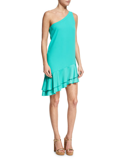 Trina Turk Lunaria One-Shoulder Tiered Flounce Dress, Cabana