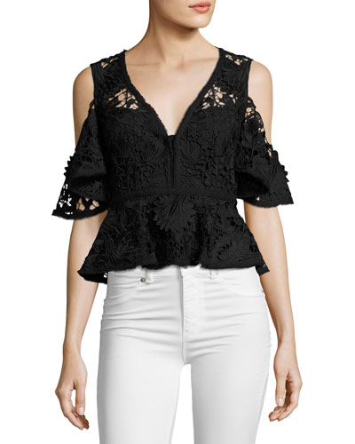 Cocktail Cold-Shoulder Floral Lace Peplum Top, Black