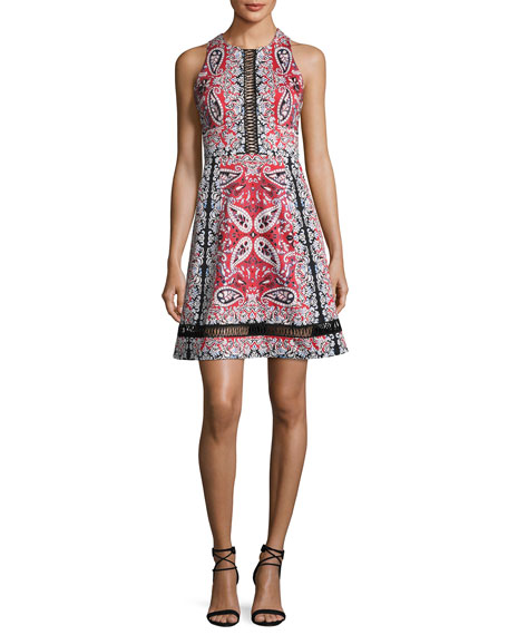 Nanette Lepore Overboard Paisley Cross-Back Dress, Red/Multicolor