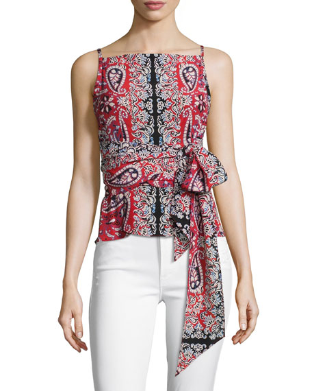 Anchors Away Paisley Silk Top, Red/Multicolor