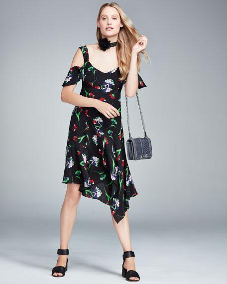 Sultry Sunset Floral Silk Cold-Shoulder Dress, Black/Multicolor