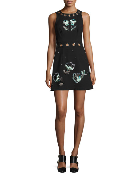 Nanette Lepore Beach Party Sleeveless Embellished Jacquard Mini