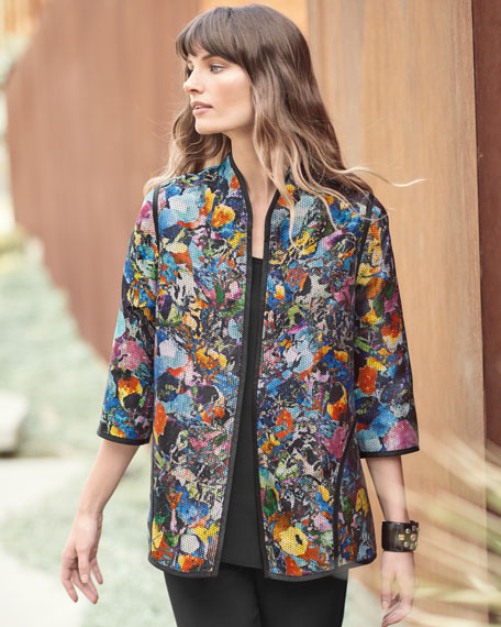 Moody Blooms Printed Easy Jacket, Plus Size