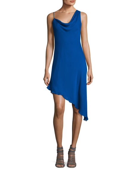 Haute Hippie Audrey Cowl-Neck Silk Mini Dress, Blue