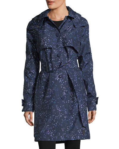 Star-Print Belted Snap-Front Trench Coat