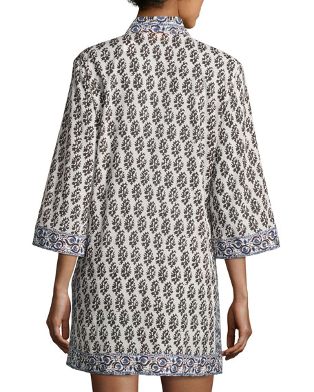 Scultura Beach Tunic Coverup Dress, White Pattern