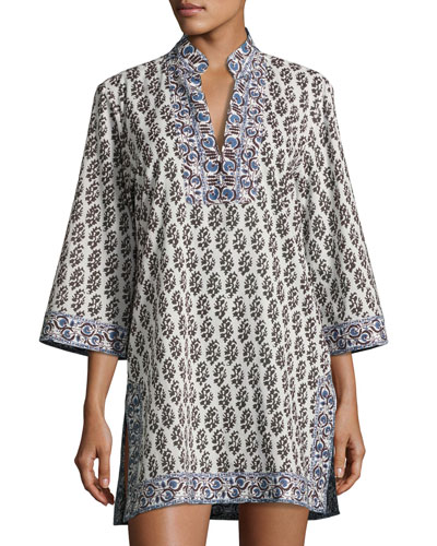 Scultura Beach Tunic Coverup Dress, White Pattern
