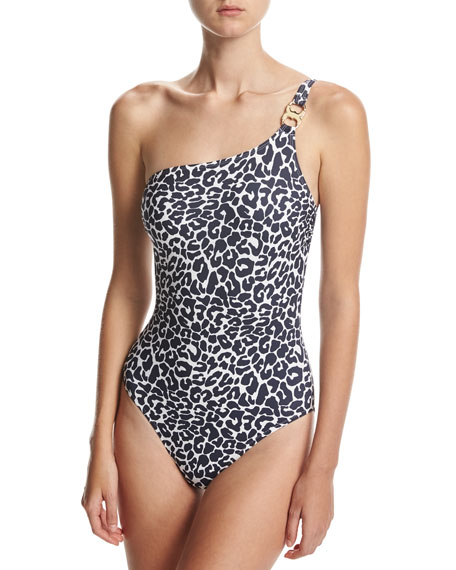 Tory Burch Clouded Leopard One-Shoulder One-Piece Swimsuit