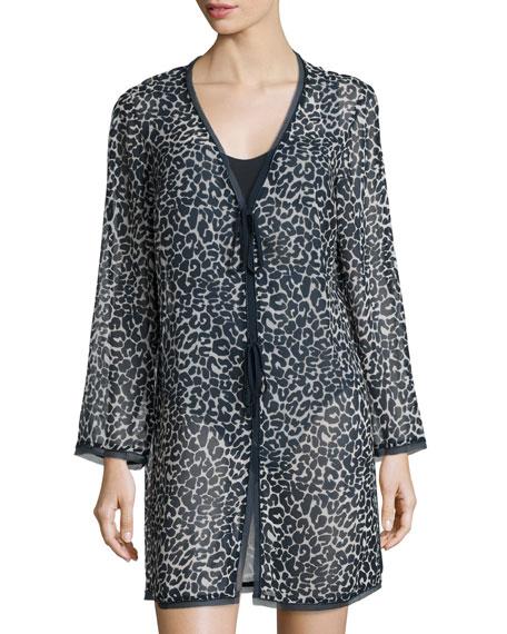 Tory Burch Clouded Leopard Cabana Kimono, Blue Pattern
