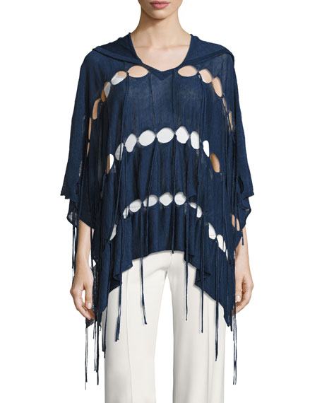 Haute Hippie Patriot Fringe Hooded Poncho, Blue