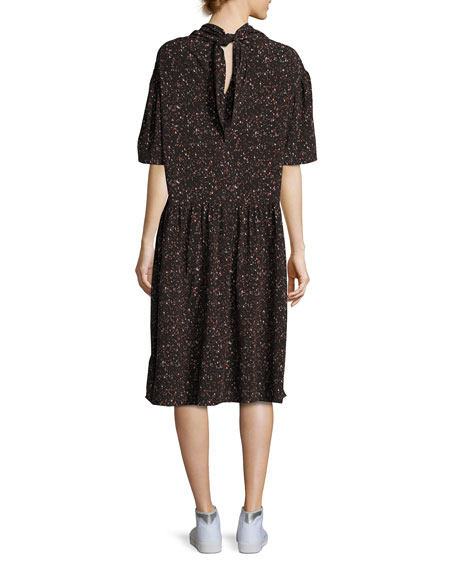Kalei Mock-Neck Printed Midi Dress, Black