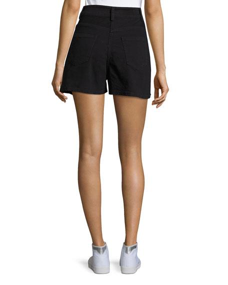 Thana Two-Tone Destroyed Denim Shorts, Black