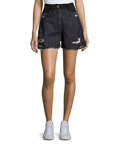 Public School Thana Two-Tone Destroyed Denim Shorts, Black