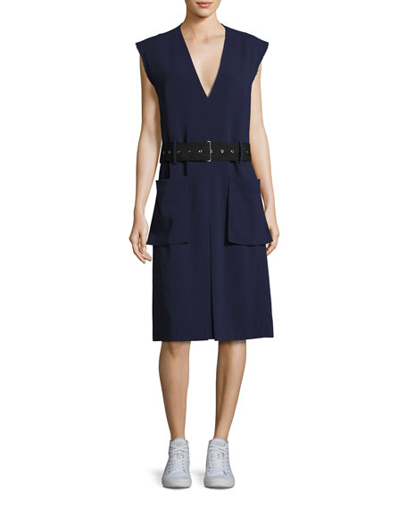 Public School Tamir V-Neck Belted Crepe Dress, Dark