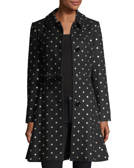 three-button glitter-dot swing coat