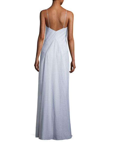Clara Sleeveless Stripe Cotton Gown, Blue