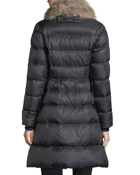 quilted puffer down skirted coat w/ faux-fur collar