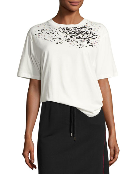 Public School Adara Crewneck Cotton T-Shirt, Off-White and