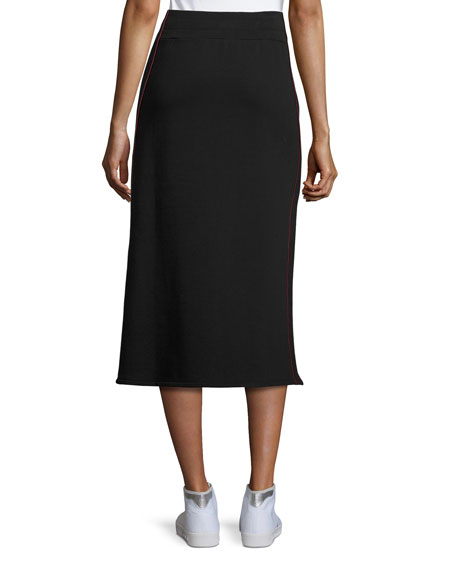 Afra Drawstring Cotton Midi Skirt, Black