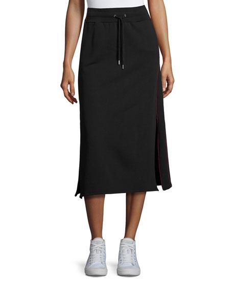 Public School Afra Drawstring Cotton Midi Skirt, Black