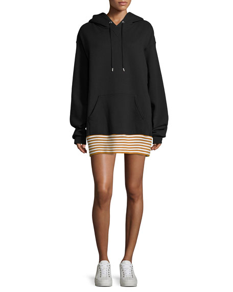 Public School Zita Hoodie Striped Hem Sweatshirt Dress,