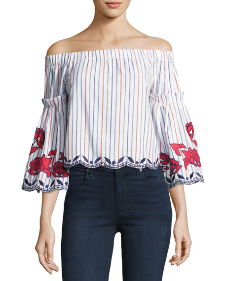 Parker Dane Off-the-Shoulder Embroidered Blouse