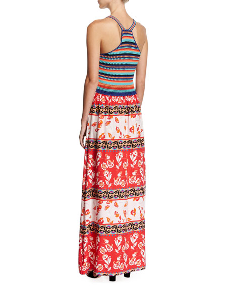 Goldie Knit Combo Maxi Dress, Multicolor