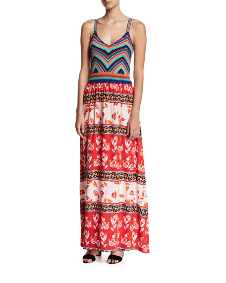 Parker Goldie Knit Combo Maxi Dress, Multicolor