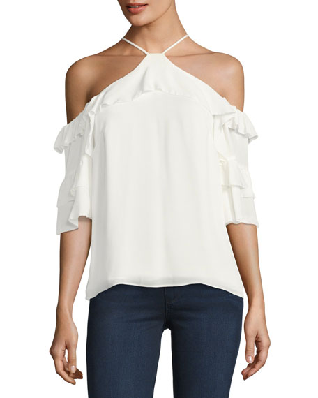 Natalia Ruffled Cold-Shoulder Silk Blouse, White