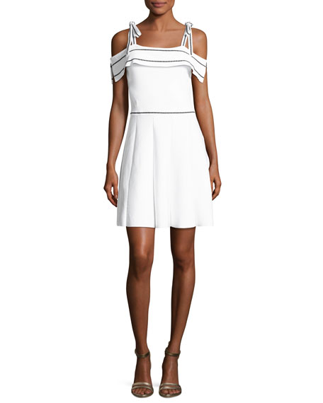 Parker Dorothy Knit Cold-Shoulder Dress, White