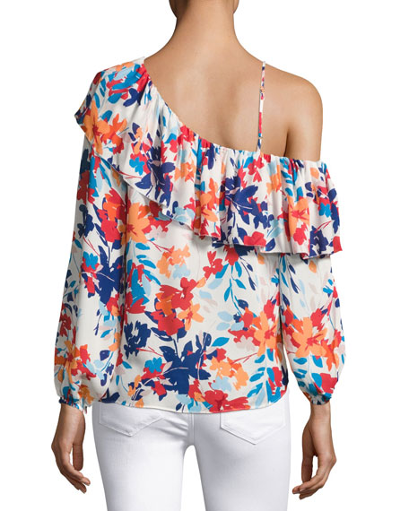 Taj One-shoulder Floral-Print Silk Blouse, Multi
