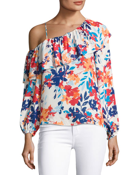 Parker Taj One-shoulder Floral-Print Silk Blouse, Multi