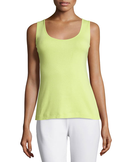 Joan Vass Soft Scoop-Neck Tank, Lime, Plus Size