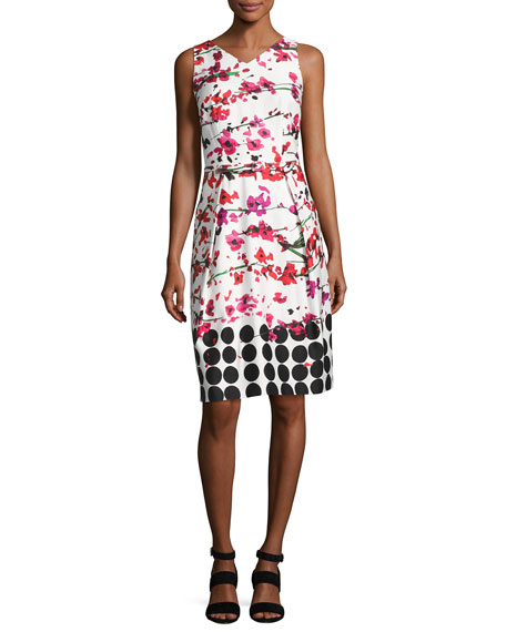 David Meister Sleeveless Floral Stretch Sheath Dress, White/Red