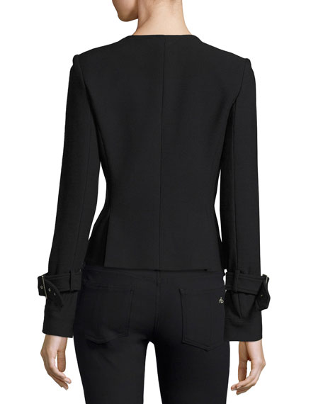 Veronica Beard Jordan Collarless Moto Jacket, Black