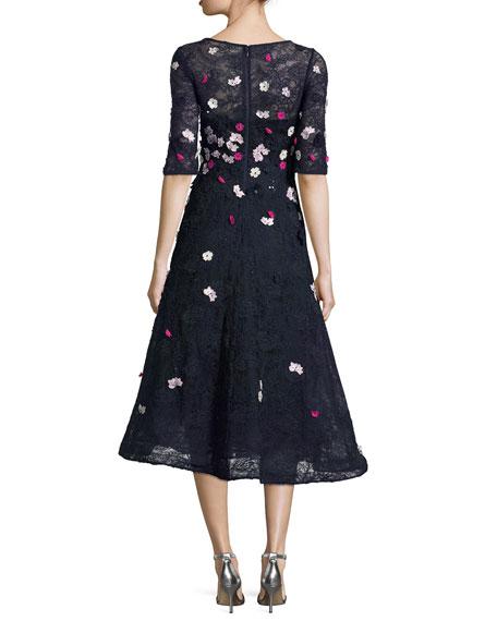 3D Floral Lace Fit-&-Flare Cocktail Dress, Blue