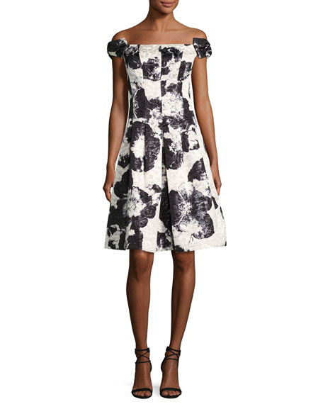 Rickie Freeman for Teri Jon Off-the-Shoulder Floral Jacquard