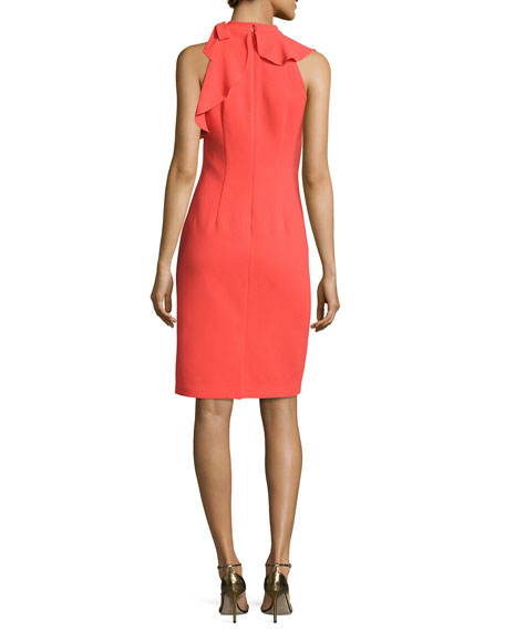 Sleeveless Mock-Neck Cocktail Dress w/ Asymmetric Ruffled Popover, Pink