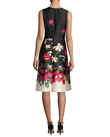 Sleeveless Beaded Floral-Print Satin Cocktail Dress, Multi