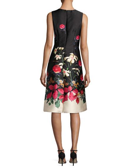 Sleeveless Beaded Floral-Print Satin Cocktail Dress, Multi