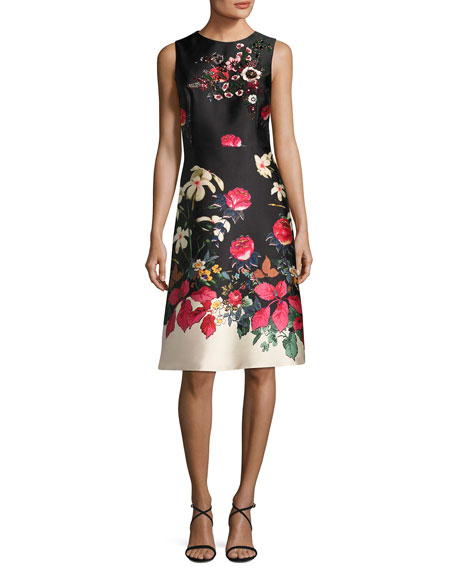 Rickie Freeman for Teri Jon Sleeveless Beaded Floral-Print