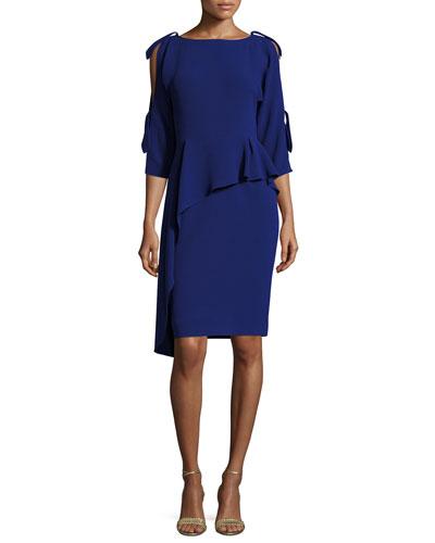 3/4-Sleeve Asymmetric Peplum Cocktail Dress, Blue