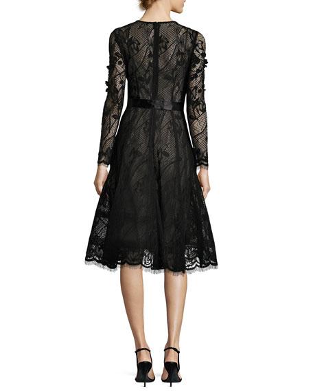 Long-Sleeve Lace Dance Dress w/ 3D Floral Appliqué