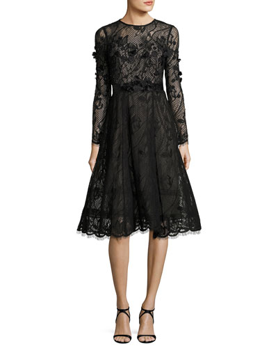 Long-Sleeve Lace Dance Dress w/ 3D Floral Appliqué