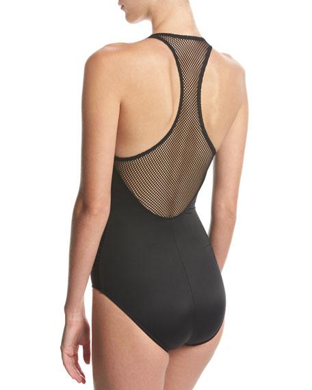 Trinity Solid One-Piece Swimsuit, Black