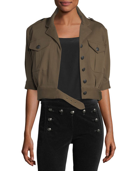 Veronica Beard Fleet Short-Sleeve Military Jacket