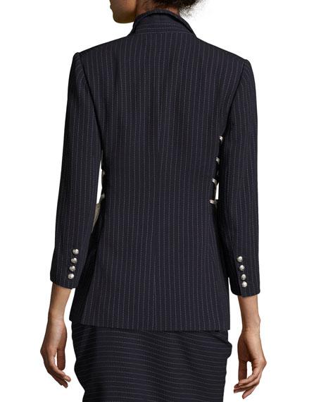 Taylor Striped Lace-Up Side Blazer, Navy