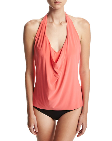 Sophie Solid Cowl-Neck Tankini Swim Top, Pink